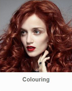 Model with red hair showing results of Goldwell color